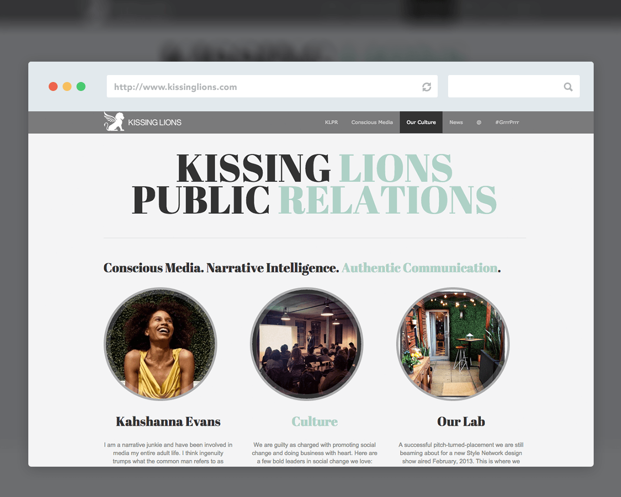 Kissing Lions PR Identity & Website