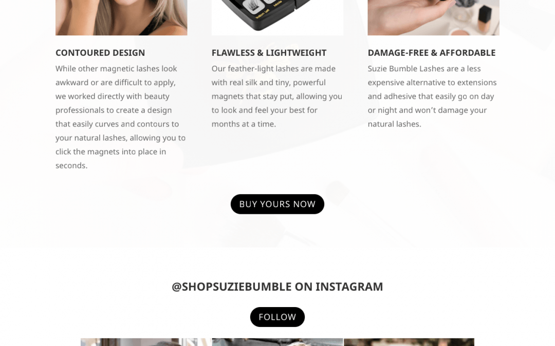 Suzie Bumble Lashes Website